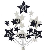 Star age 21st birthday cake topper decoration in black and white - free postage